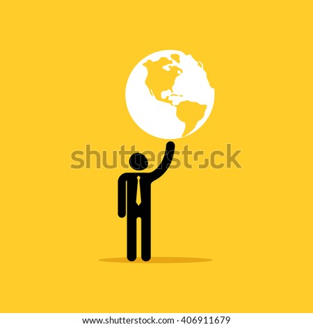 The man is holding a planet earth in his hand - stock vector