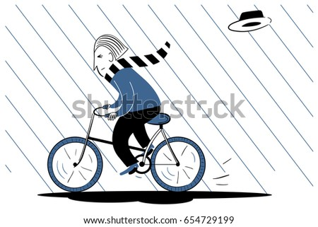 The man is riding a bicycle in the rain. The wind took the hat off. Vector illustration.