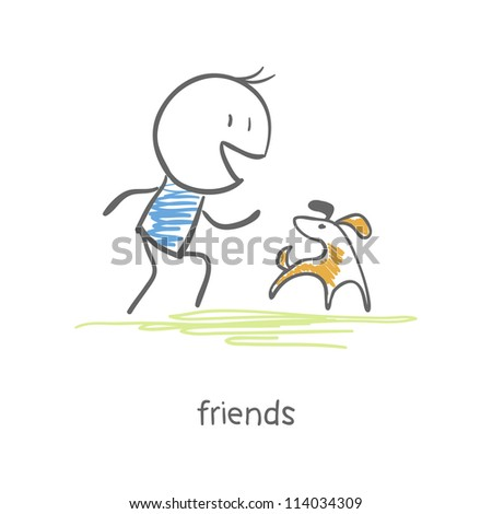 The man plays with a dog, - stock vector