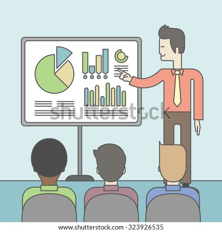 The man presenting his report through infographics in office. Reporting concept. Vector line design illustration. Square layout. - stock vector