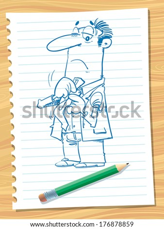 The man puts his tie. - stock vector