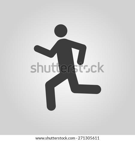 The man running icon. Run symbol. Flat Vector illustration - stock vector