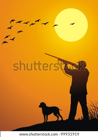 The man together with a dog hunts on a weft on a sunset - stock vector