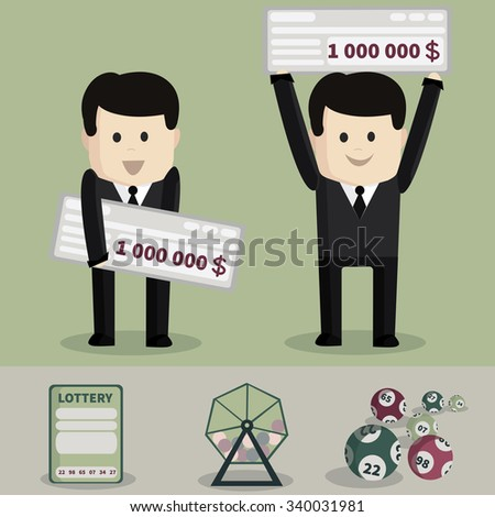 The man who won the lottery - stock vector