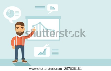 The man with a beard presenting his report through infographics. Reporting concept. Vector flat design illustration. Horizontal layout with a text space in a right. - stock vector