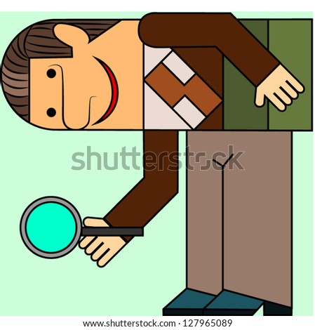 the man with a magnifying glass in a hand considers - stock vector