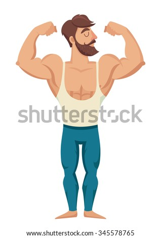 The man with the muscles. Sexy bearded, muscular jock in jeans. Posing bodybuilding. Isolated vector illustration on white background - stock vector
