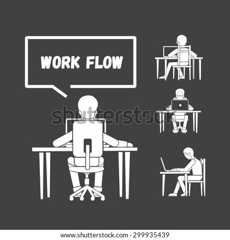 The man working on the computer. The Internet and social networking. - stock vector
