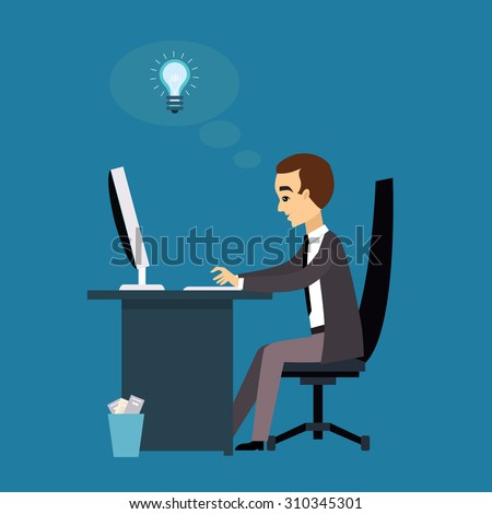 The man works with a laptop. Flat modern illustration workflow - stock vector