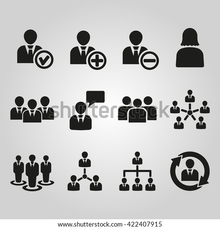 The management icon, set of 12 icons. Team and group, teamwork, people, alliance symbol. UI. Web. Logo. Sign. Flat design. App. Stock vector - stock vector