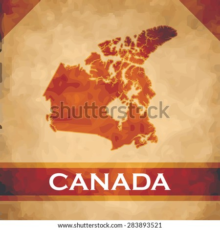 The map of Canada on parchment with dark red ribbons - stock vector