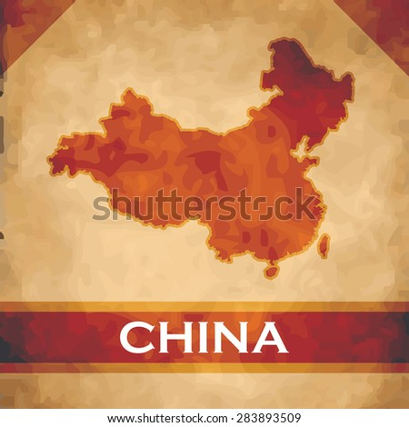 The map of China on parchment with dark red ribbons - stock vector