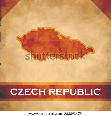 The map of the Czech Republic on parchment with dark red ribbons - stock vector