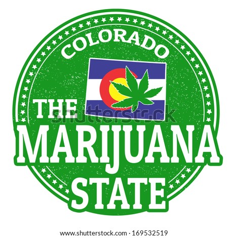 The marijuana state, Colorado grunge rubber stamp, vector illustration - stock vector