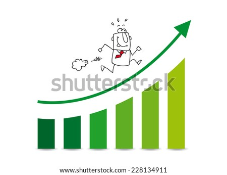 the market grows up. Joe is very happy. He runs on a diagram which illustrates the the good results of his company - stock vector