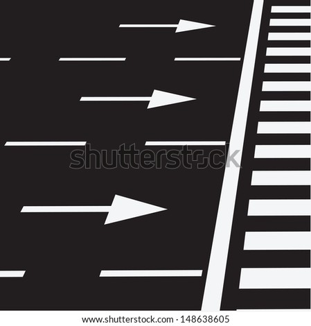 The marking of the road at a pedestrian crossing. Vector illustration.