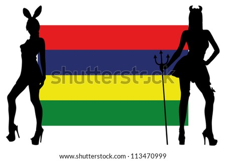 The Mauritius flag with silhouettes of women in sexy costumes