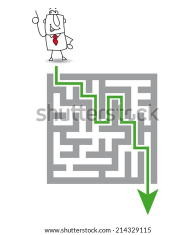 The maz and the solution. Joe has a solution. he wants to get through the maze - stock vector