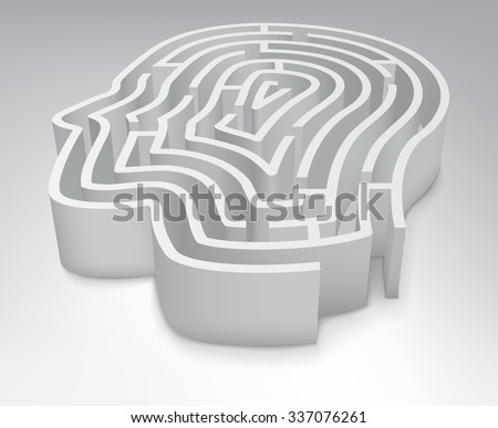 The maze in the shape of a human head.  Vector Illustration - stock vector