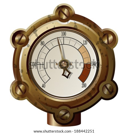 the measuring device in the steampunk style. Gradient mash - stock vector