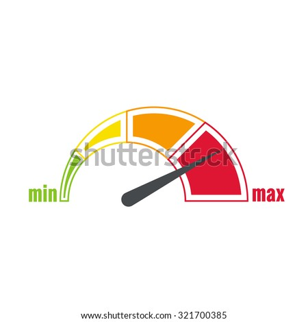 The measuring device with a color scale. Green, yellow, orange, red. Speedometer. The concept of maximum acceleration and speed. Indicator min max - stock vector