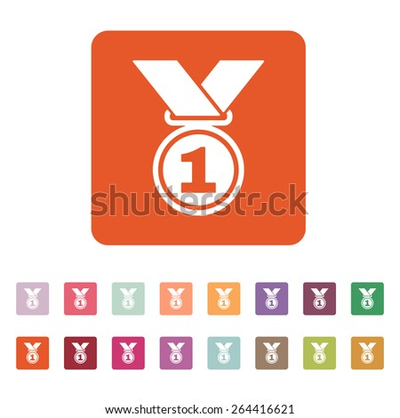The medal icon. Prize symbol. Flat Vector illustration. Button Set - stock vector