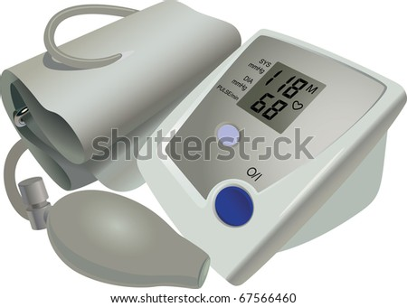 The medical device for blood pressure and pulse measurement - stock vector
