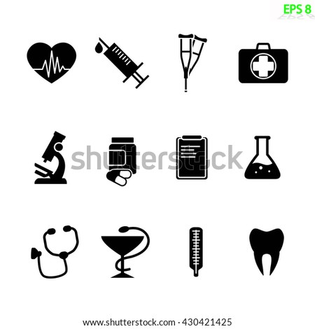 the medical icon set isolated on white. Flat vector design - stock vector