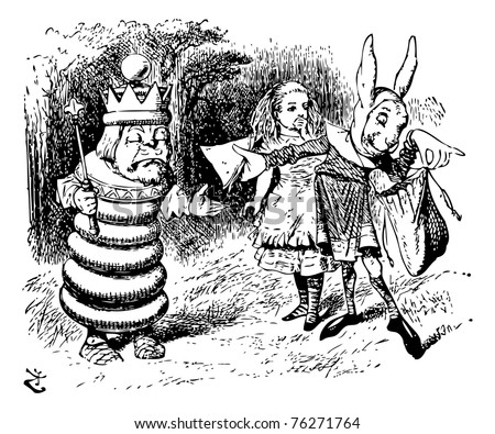 """The Messenger Hands a Sandwich to the White King - Through the Looking Glass and what Alice Found There original book engraving. """"You alarm me!"""" said the King. """"I feel faint -- give me a ham sandwich! - stock vector"""