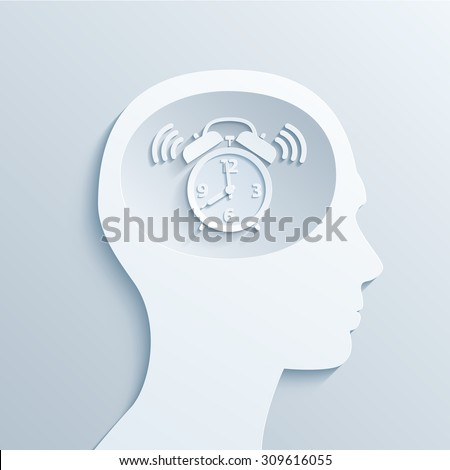The metaphor. Biological alarm clock in the human brain. Stylized cut from paper. eps10 - stock vector