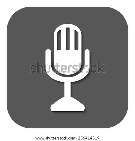 The mic icon. Microphone symbol. Flat Vector illustration. Button - stock vector