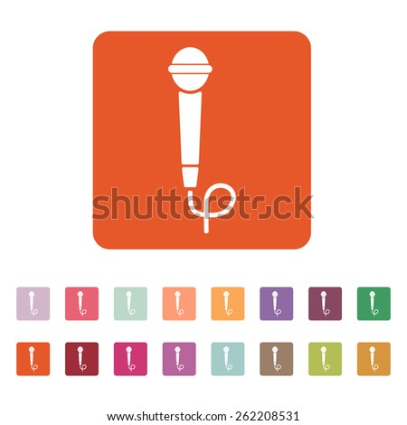 The microphone icon. Sound symbol. Flat Vector illustration. Button Set - stock vector