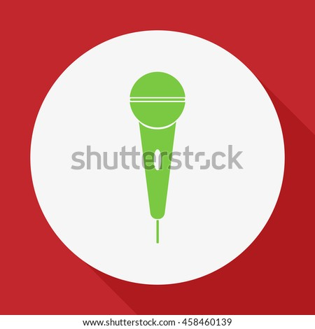 The microphone in the classic flat style.Vector icon.