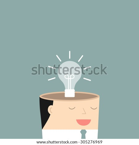 The mind of a businessman. The concept of a new idea. Vector illustration. - stock vector