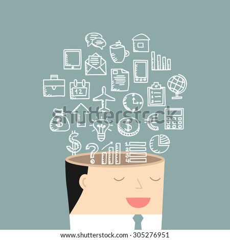The mind of a businessman. Vector illustration. - stock vector
