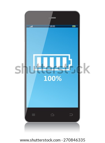 The mobile phone battery is full - stock vector