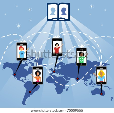 The mobile phone connects people worldwide through the social network, vector available. - stock vector