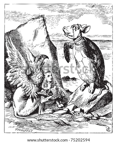 The Mock Turtle and Gryphon sing to Alice - Alice's Adventures in Wonderland original vintage engraving. Illustration from John Tenniel, published in 1865. - stock vector