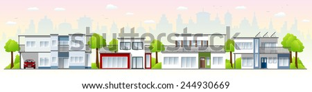 the modern city with three cube houses - stock vector