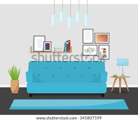 The modern interior design in turquoise colors. The cozy living room. - stock vector