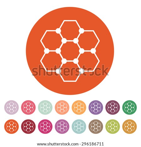 The molecule icon. Atom and chemistry, dna, physics symbol. Flat Vector illustration. Button Set - stock vector
