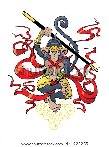 The Monkey King - stock vector
