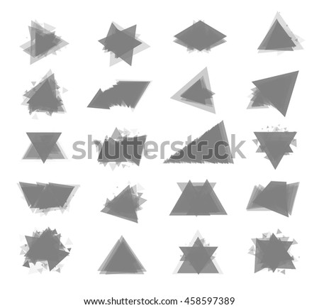 The monochrome gray set isolated elements for design of posters, cards, brochures and site titles. Isolated objects on white background can be edited. Vector illustration - stock vector