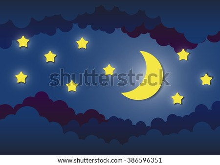 the moon and stars in night sky, paper cut style.vector illustration. - stock vector