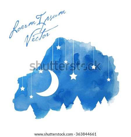 the moon and stars on painted watercolor background - stock vector