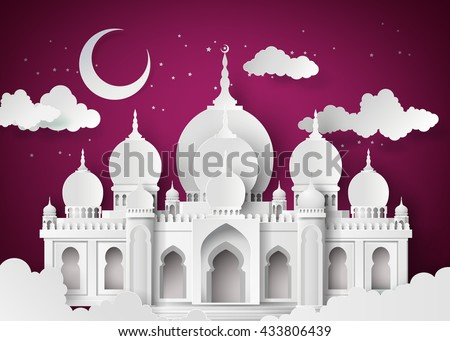 The mosque and the sky at night with half moon.paper art style. - stock vector