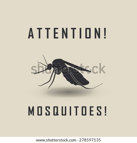 the mosquitoes stop sign - vector image of a mosquito and the risk of malaria - stock vector