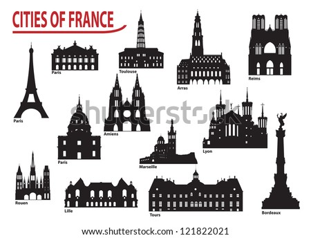 The most famous building in the city of France - stock vector