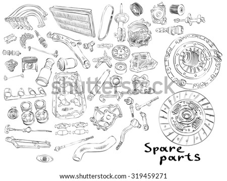The most popular spare parts, auto parts of the chassis, transmission, brake and clutch. Isolated on a white background. Many new auto parts for aftermarket, OEM spare parts. Car part for auto service - stock vector