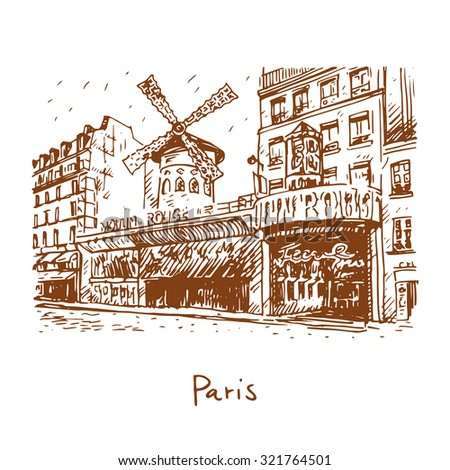 The Moulin Rouge, Paris, France. Hand drawn vector illustration. - stock vector